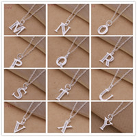 Wholesale order sterling silver for sale - Group buy Mixed letter necklace with zircon sterling silver plated fashion lovers jewelry mix order