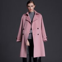 Wholesale Women Double Breasted Coats Pink - winter wool coats women double breasted outwear lapel neck high quality cashmere coats ladies Outerwear woolen coats