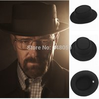 Venta al por mayor-2015 Hombres de moda Classic Fieltro Pork Pie Porkpie  fedora Sombrero Chapea Cap Upturn Masculino Negro Ribbon Band panama  sombreros ... d94ca20079e