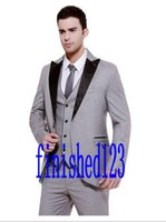 Wholesale Grey Mens Winter Dress Jacket - Hot Sale One Button Light Grey Groom Tuxedos Peak Lapel Groomsmen Mens Wedding Dresses Prom Suits (Jacket+Pants+Vest+Tie) K1