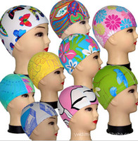 Wholesale Spandex Swimming Cap - swimming caps Stretch fabric spandex nylon cloth teenagers Swimming Cap for Kids Over 8Years and Teenagers Bathing Cap Free shipping D258