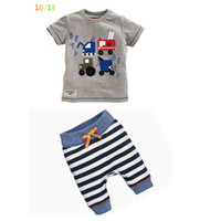 Wholesale T Shirt Cars Baby - Baby INS lovely cartoon car stripe Suits 2016 new children Short sleeve T-shirt +trousers 2 pcs Suit cartoon pajamas Suits B001
