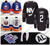 nick logo al por mayor-2016 Negro NY Islanders # 2 Nick Leddy Jersey Inicio Azul Blanco Logo bordado baratos Hockey sobre hielo Hockey Jerseys Aceptar al por mayor al por menor