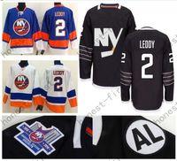 ingrosso ny blu jersey-2016 Nero NY Islanders # 2 Nick Leddy Jersey Home Blu Bianco Logo Ricamato Maglie Hockey su Ghiaccio a buon mercato Accetta Vendita al dettaglio all'ingrosso