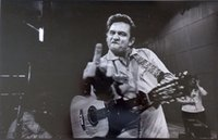 Wholesale Music Vinyl Wall Art - Free Shipping Johnny Cash Middle Finger Guitar Music High Quality Art Posters Prints Home Decor Wall Paper 16 24 36 47 inches