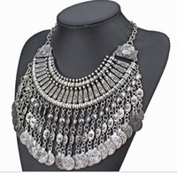 Wholesale Choker Vintage Brand Necklace - New Vintage American Brand Silver Vintage Round Zinc Zamac Coin Tassels Choker Shourouk statement necklace Collar women XL001
