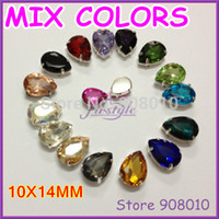 Wholesale Droplet Sew Stones - Wholesale-30Pcs lot,MIXED Colors 10x14mm Pear Droplet Crystal Fancy Stone In Silver Claw Setting For Sewing On