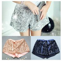 Wholesale Pink Sequin Hot Pants - Fashion New children shorts girls sequins shorts bling bling hot pants Bow princess shorts pink blue silver A5430