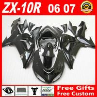 Wholesale Zx Kawasaki Bodywork - 7 gifts ! Whole glossy black custom fairing kit FOR Kawasaki ninja ZX-10R 2006 2007 ZX10R bodywork 06 07 ZX 10R fairings