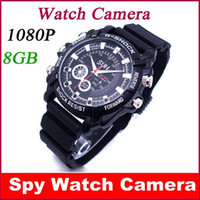 Wholesale Camera Video Watches - Full HD 1080P 8GB Waterproof Spy Watch Camera Secret Mini Cam Recorder Video Camcorders Free shipping