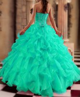 Wholesale Light Blue Green Quinceanera Dresses - 2015 New Turquoise Quinceanera Dresses Ball gown Sweetheart Beads Crystals Ruffles Floor Length Prom Gowns Sweet 15