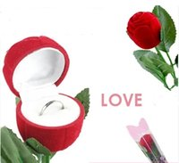 Wholesale Velveteen Ring Boxes - Fashion Red Rose Ring box Velveteen Flower Jewelery Engagement Cute Gift Box Wedding jewelry Box Ring box Holder Valentine Gift