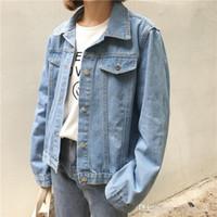 más el tamaño de chaquetas de jean azul al por mayor-Novio estilo Denim Mujer tres de la chaqueta de color femenino más tamaño suelta la chaqueta de jeans mujeres lavaban Blue Coat mujeres de las chaquetas