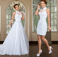 boncuklu yüksek yaka dantel elbisesi toptan satış-Muhteşem Yüksek Yaka Boyun Çizgisi 2 In 1 Gelinlik Aplike Tül Boncuklu Dantel A-Line Gelin Elbise Vestido De Noiva
