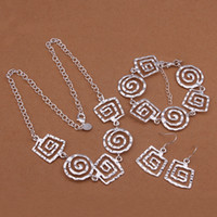 Wholesale Silver Thread Bracelet - High grade 925 sterling silver Square thread bracelet necklace earrings three-piece jewelry sets DFMSS431 Factory direct sale wedding