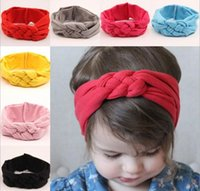Wholesale Mixed Blend Weaves - Beautiful Girls Weave force Head wrap Baby girl Cotton Headbands Bow Belt infant babies fashion hair bands Mixed order 20pcs