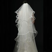 Wholesale Champagne Wedding Fingertip Veil - 2015 Gorgeous Bridal Veils White Ivory Soft Tulle Wedding Veil 4 Layers Veils with Boned Edge Wave Wedding Accessaries with Comb