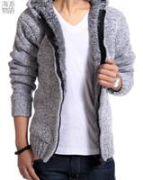 Wholesale Cardigan Big Size - Free shipping Warm Thick Velvet Cashmere Men Winter Cardigan zipper Tops Man Casual Hoodies Sweatshirt Knitwear Big size 5 color