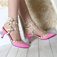 Wholesale Us9 Rhinestone Sandals - Fashion Studded Leather Pointed Stiletto high Heels With Slim Strap up rhinestone Sandals wedges jelly Shoes clothes women