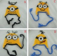Wholesale Cartoon Head Costume - 4 Design Despicable me crochet hats 2016 NEW Baby cartoon minions Costume Handmade Crochet Knitted Hat Animal Mouse Head Beanie Caps