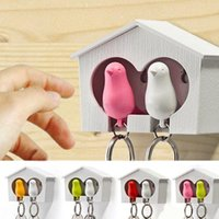 Wholesale Sparrow Key - Wholesale-Fr Sparrow Key Ring with Birdhouse Keychaee Shipping 2Sets DUO Sparrow Key Ring with Birdhouse Keychain Gadget for Home Decoration