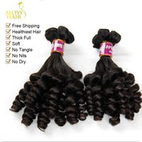 Wholesale Raw Indian Hair Curly - 3pcs Lot Unprocessed Raw Virgin Indian Aunty Funmi Human Hair Weave Nigerian Style Bouncy Spring Romance Curls Thick Soft Hair Extensions