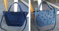 tote shoulder bag hand Australia - Newly women tote bag washed denim diamond lattice hand bag one shoulder bag light, deep blue