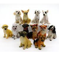 Wholesale plastic dollhouses - 12pcs Miniature Fairy Garden Ornament Decoration Micro Landscape Dog Figurines Dollhouse Resin Decoration For Mini Garden Decor