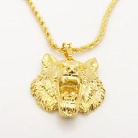 mens halskette wolf anhänger großhandel-Lebendige Wolf Design Solid 24K Gelbgold gefüllt Herren Anhänger Halskette mit Seilkette