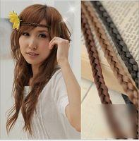 Wholesale Hair Plaited Elastic - 11 Color 1.2cm Bohemia New Synthetic Fashion Headband Hair Band For Woman Elastic Plaited Headbands Braided Hair Accessories K5638