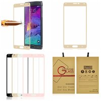 Wholesale Galaxy Note Box Packaging - 0.3MM 2.5D Silk-screen Full Coverage Premium Tempered Glass Screen Retail Package Box Protector For Samsung Galaxy Note4 Note5 note 4 5 Film