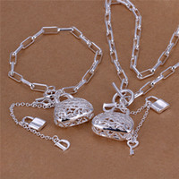 Wholesale China Women Bag Free Shipping - S006 Fashion Jewelry Set 925 sterling silver lock bag pendant necklace & bracelet wedding gift for woman free shipping Top quality