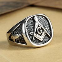 anéis de maçom preto venda por atacado-Preto maçónico do vintage do Freemason do pedreiro de Mason do anel G da jóia dos homens chapeado