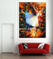 ingrosso pitture a coltello a palette-Balletto Girl White Swan Palette Coltello Dipinti ad Olio Stampato Su Tela Per Decorazione Home Office Decorazione Da Parete Arte