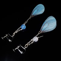Wholesale Silver Butterfly Dangle Beads - 2017 New Manual Restoring Ancient Ways Pure And Fresh Contracted Blue Long Earrings Beads Translucent Butterfly Wings Party Gift