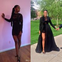 akşam kısa ceketleri toptan satış-Seksi İki Adet Kısa Gelinlik Modelleri Siyah Dantel See Through Uzun Kollu Ayrılabilir Ceket Kat Uzunluk Mini Parti Akşam Pageant elbise mz BO861