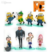 Wholesale Despicable Villain - Wholesale-Cartoon Movie Despicable Me Action Figures Toys, 8pcs Villain Papa and Daughters Cuddly Stuff 3D Eye Minions Free shipping