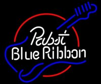 """Wholesale Red White Blue Guitars - New Pabst Blue Ribbon Guitar Glass Neon Sign Light Beer Bar Pub Sign Arts Crafts Gifts Lighting Size: 22"""""""