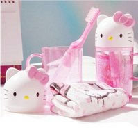 Wholesale Travel Toothbrush Cup - Free Shipping Cartoon Hello Kitty Children's Travel Wash 3-Piece Set Cup+Toothbrush+Towel Toiletries Wash Set Retail WC1