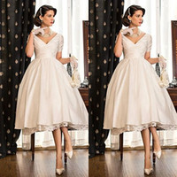 Wholesale white shirts puffy sleeves - 2015 Elegant Tea Length Wedding Dresses V-neck Capped Sleeves Lace Satin Puffy Wedding Gowns Custom Made Short Bridal Gowns