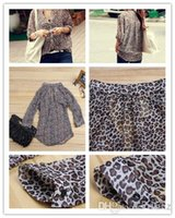 Wholesale Leopard Silk Chiffon Shirt - NEW Fashion ladies Leopard print Long Sleeve shirt silk Chiffon Tops