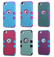 Bling Diamond Hybrid Case pour Ipod Touch 6 6G 6th 5 5G Starry Hard Plastic Silicone doux Fashion Shockproof strass Armor Heavy Duty Skin