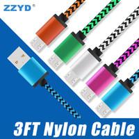 cabo usb nylon venda por atacado-Zzyd 3ft tipo c cabo de tecido de nylon trançado cobre micro usb carregador para samsung s8 nota 8 qualquer telefone inteligente