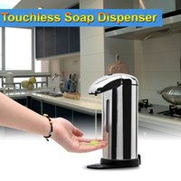 Wholesale Touch Free Wall Dispenser - DHL-Free 500ML IR Sensor Soap Liquid Dispenser Automatic Stainless Steel Wall-mount Stand Touch Free Wash Machine