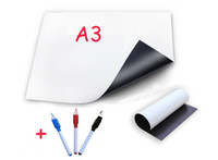 Wholesale Magnetic Whiteboard Pen - Wholesale-A3 Magnetic Whiteboard Fridge with 3 Pens Vinyl White Board Dry-erased Memo Pad Message Boards Magnets Sticker