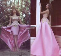 Wholesale High Low Cheap Elegant Dress - Elegant Pink Strapless Satin High Low Prom Dresses Sleeveless Ball 2018 A-Line Cheap Short Party Evening Dresses Gowns Robe De Soiree