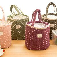 bolsas ecológicas lindas al por mayor-Lindo bolsa de contenedores de almuerzo de puntos impresos bolsa de bento de picnic bolsos de mano con aislamiento térmico portátil bolsa de almuerzo bolsa de 4 colores
