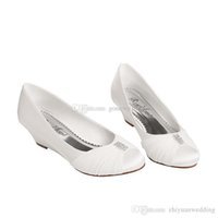 Wholesale Ballet Flat Wedge Ankle Strap - women wedge heels crystal satin pregnant wedding shoes bride white red round toe for bridesmaid evening prom party