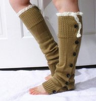 Wholesale Lace Socks For Boots Wholesale - 2014 Retail leg warmers for women Button Down Boot Cuffs lace trim gaiters Boot Socks Crochet Leg Warmers Knit Leg Warmers