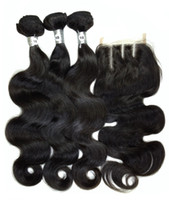 Wholesale Virgin Hair Wholesalers Usa - Unprocessed Brazilian Body Wave 6A Virgin Hair Extensions USA Remy Human Hair Weave with Lace Closure